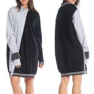 TOV HOLY Black & Gray Night Shirt Varsity Dress